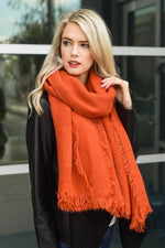 Persimmon Blanket Scarf with Frayed Border