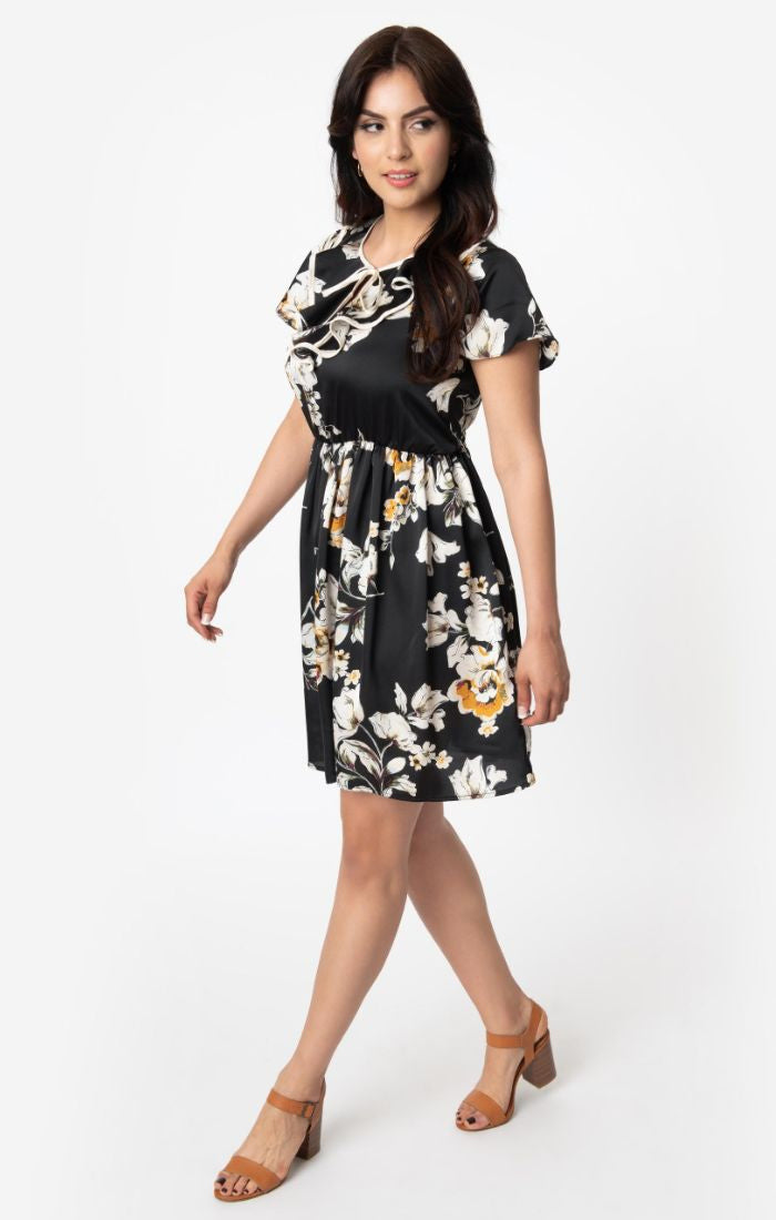 Final Sale Ruffle Collar Dress in Black Floral by Smak Parlour