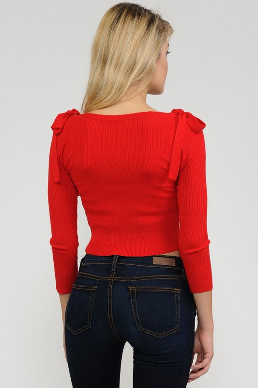 Bow Shoulder Cardigan in Red