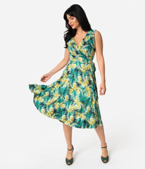 Tropical Green Leaf Sleeveless Kelsie Dress by Unique Vintage
