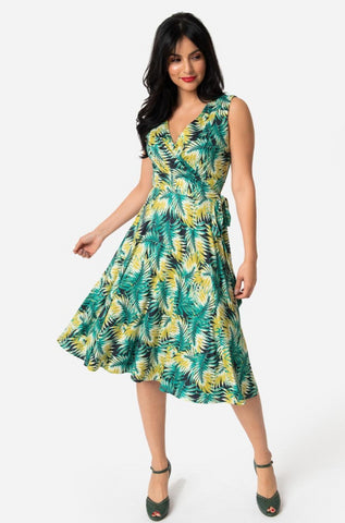3fab76846504 Tropical Green Leaf Sleeveless Kelsie Dress by Unique Vintage ...