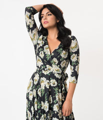 Kelsie Jersey Wrap Dress in Navy & Ivory Floral by Unique Vintage