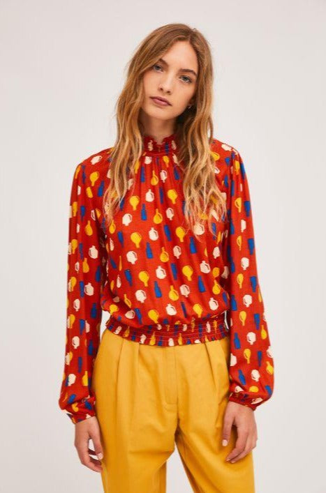 Bubble Hem Pottery Print Top in Red by Compania Fantastica