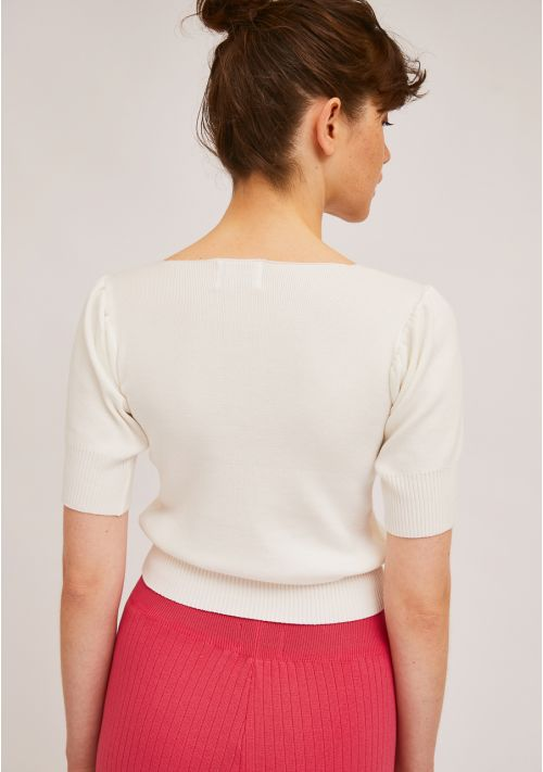 White Fine Knit Sweater by Compania Fantastica