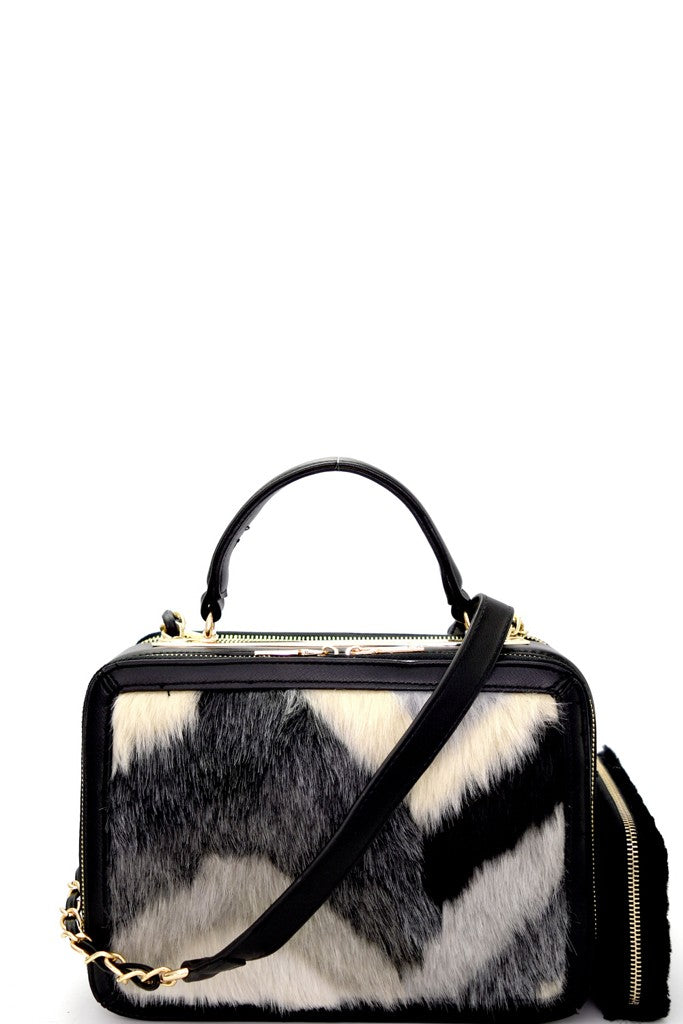 Faux Fur Satchel with Wallet in Black