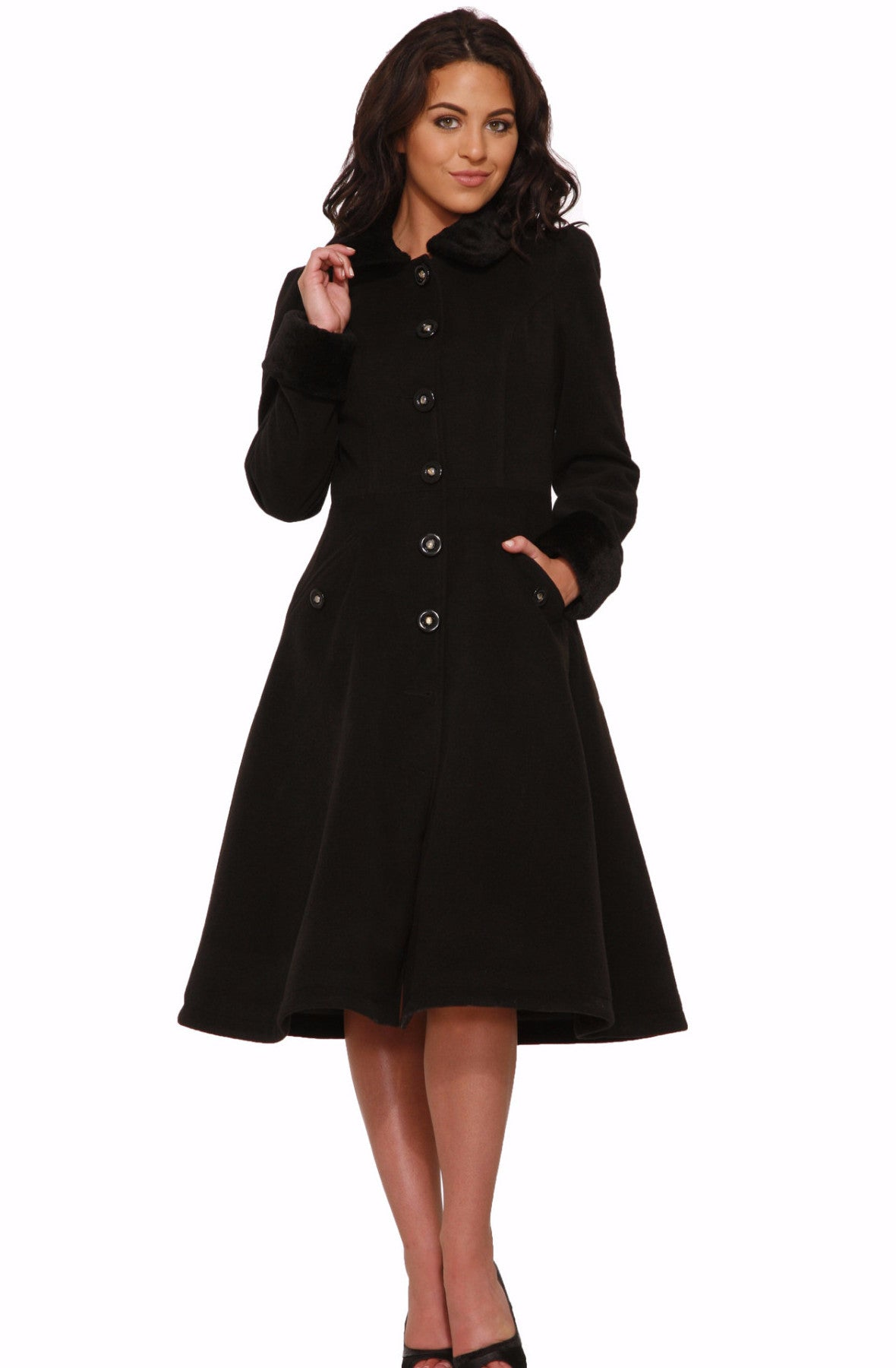 Hearts & Roses Black Collette Coat