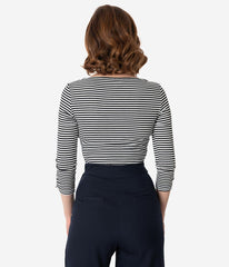 Gracie Top in Black and White Stripe