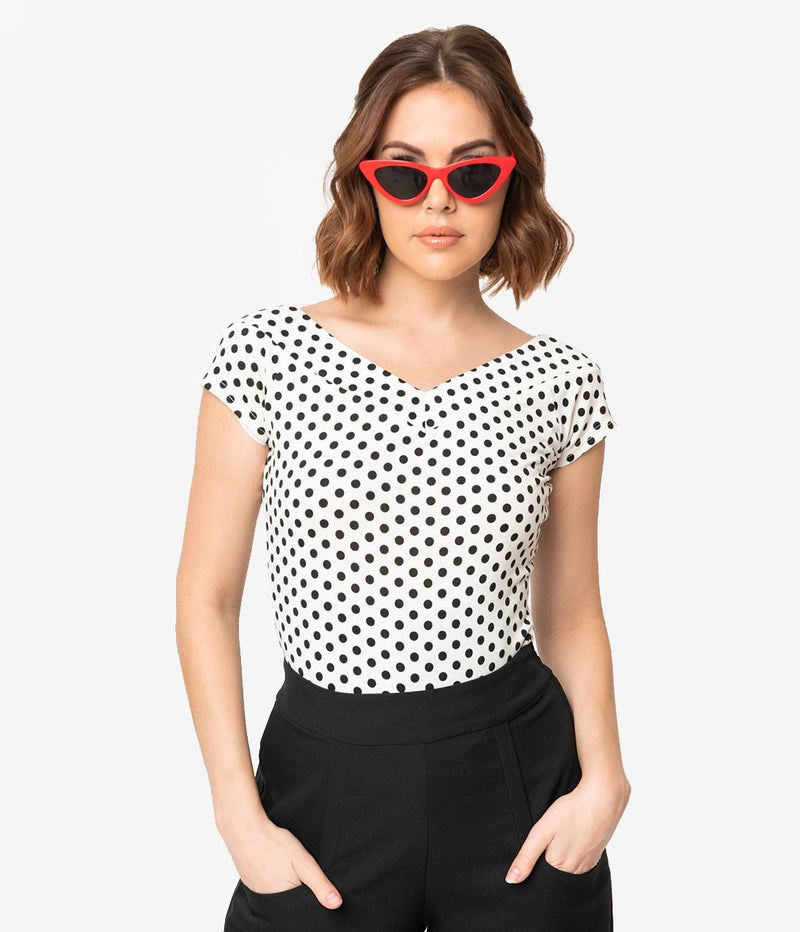 Deena Top in Black and White Polka-dot