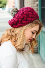 Pom Pom Knit Beenie in Assorted Colors!