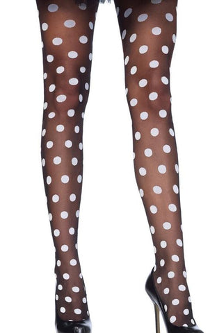 Sheer Black Tights with White Polka Dots by Leg Avenue