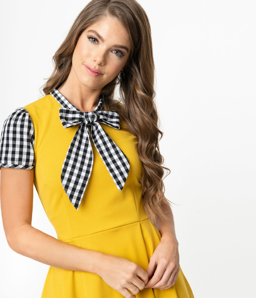 Mustard and Gingham Short Sleeve Dress by Smak Parlour
