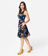Navy Floral Sleeveless Dress by Smak Parlour