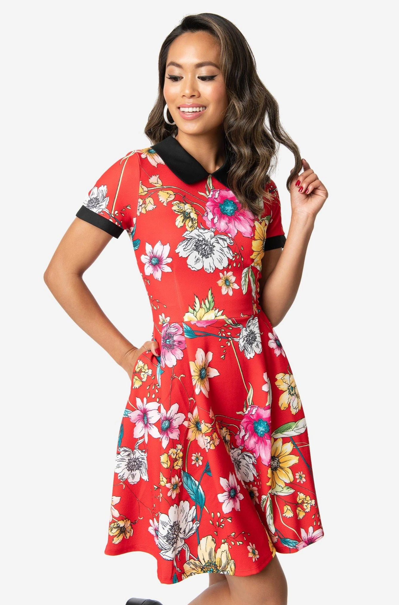 Red Floral Short Sleeve Dress by Smak Parlour