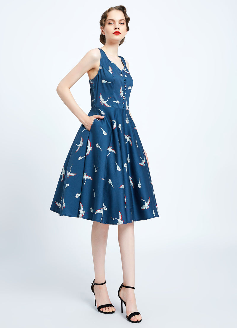 Heidi Blue Crane Print Dress by Miss Lulo