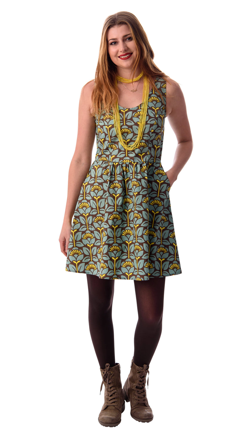 Geo Floral Fit and Flare Dress by Blue Platypus