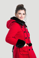 Red and Black Hooded Sarah Jane Coat by Hell Bunny