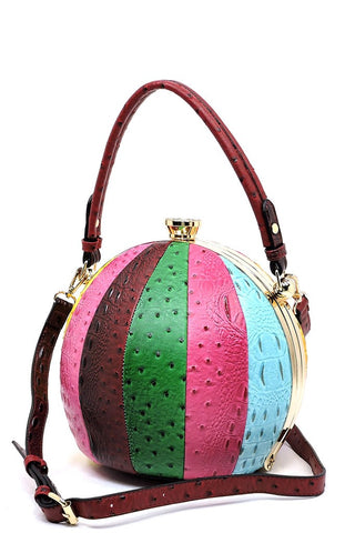 Ostrich Balloon Shaped Satchel in Bright Multicolor