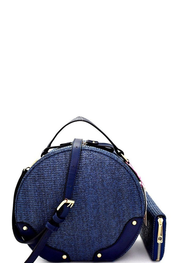 Knitted Faux Straw Satchel Bag in Navy