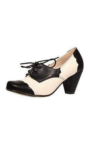 Chelsea Crew Mirela Two Tone Oxford Heels in Black and Bone