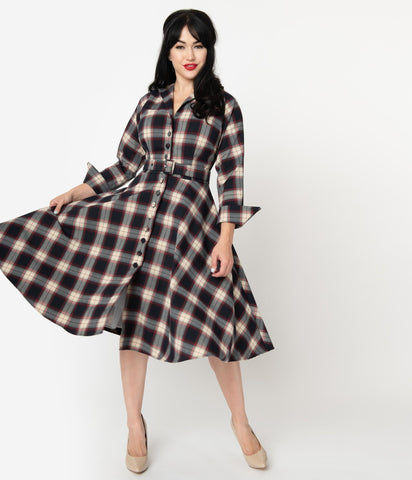 Red and Navy Plaid Brooklyn Shirtwaist Dress