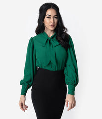 Emerald Green Crepe Tie-Neck Gwen Blouse
