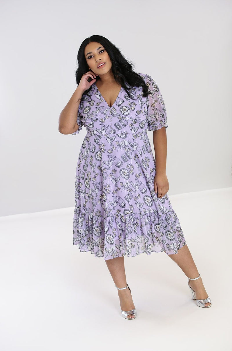 Willow Sparrow Dress in Lilac by Hell Bunny