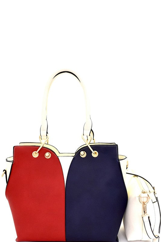 Color Block 2 in 1 Crossbody Satchel Bag in Red and Navy