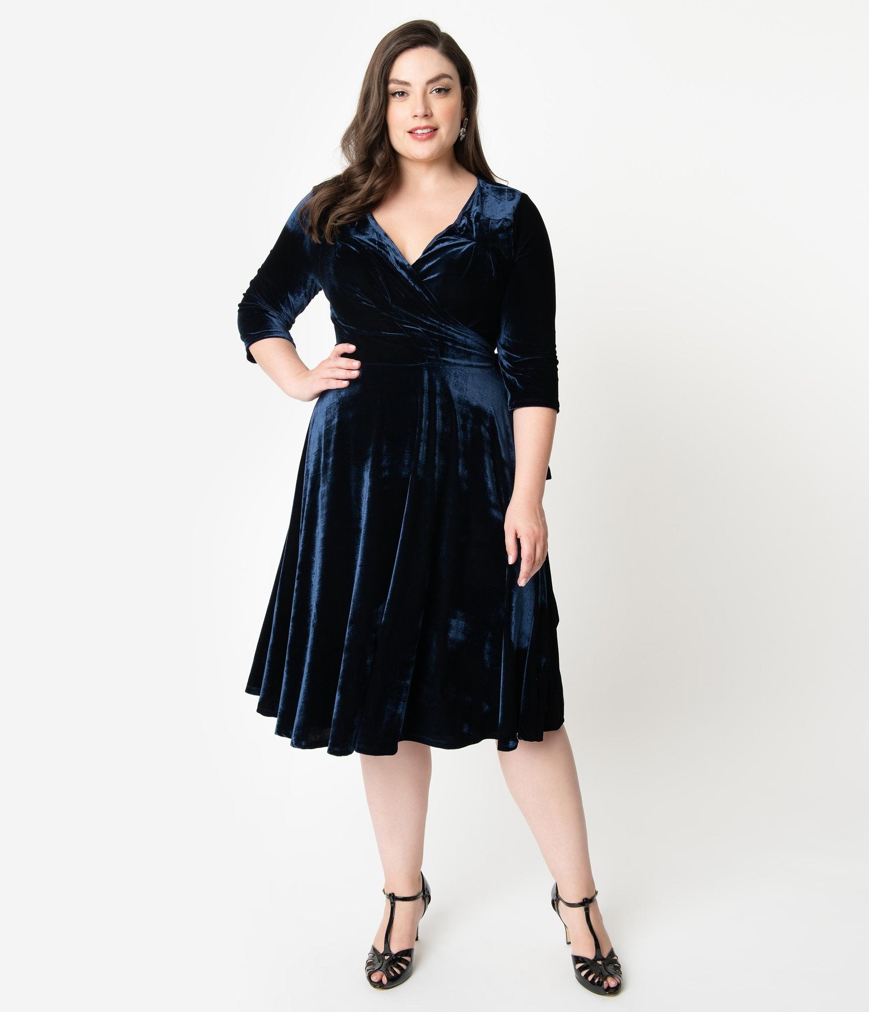 Navy Blue Velvet Wrap Dress