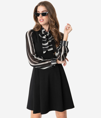 Black and White Long Sleeve Tie-Neck Dress by Smak Parlour
