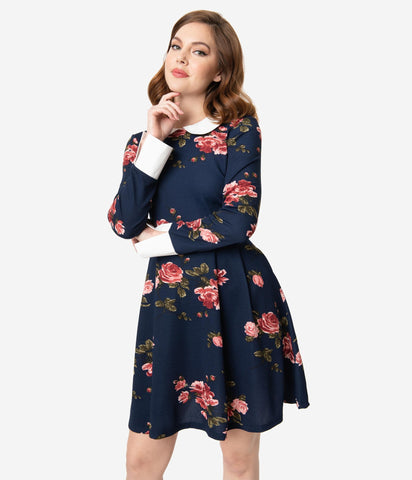 Navy Floral Peter Pan Collar Dress by Smak Parlour