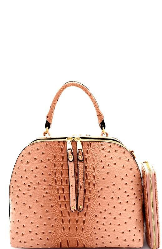 c998cd1ca5 Ostrich Embossed Satchel Bag with Matching Wallet in Blush – Modern Millie  Shop