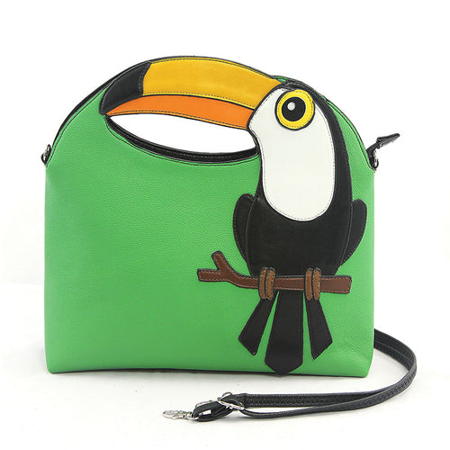 Green Cut-out Beak Toucan Handbag