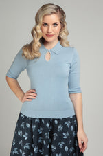 Pale Blue Beaded Palmer Sweater by Collectif