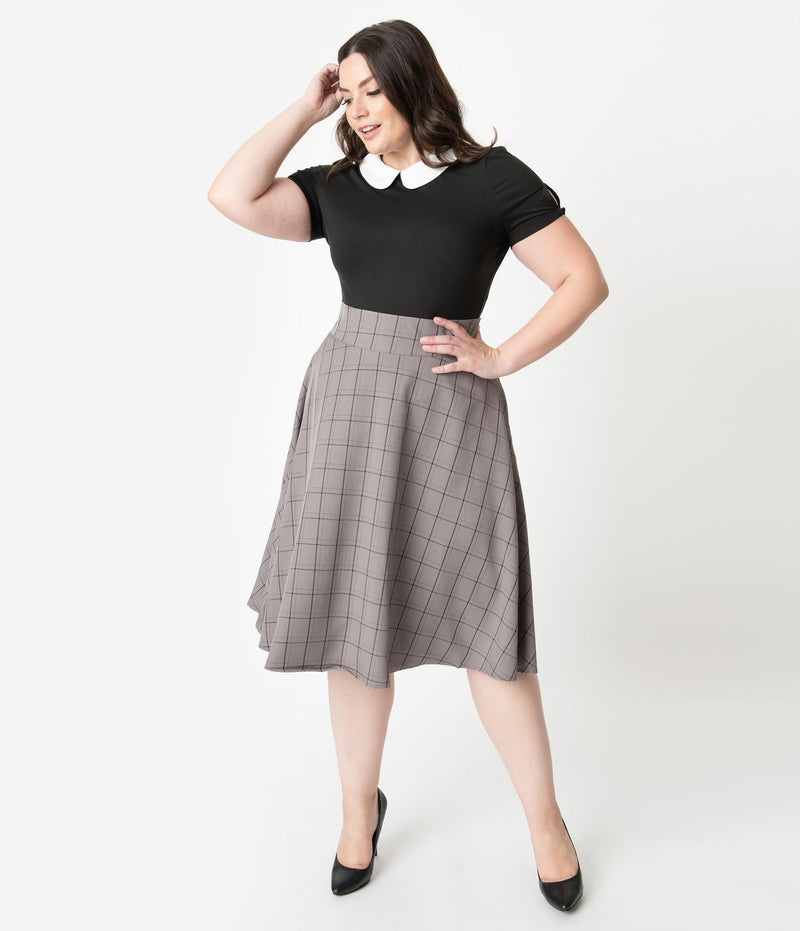 Grey Windowpane Vivien Skirt