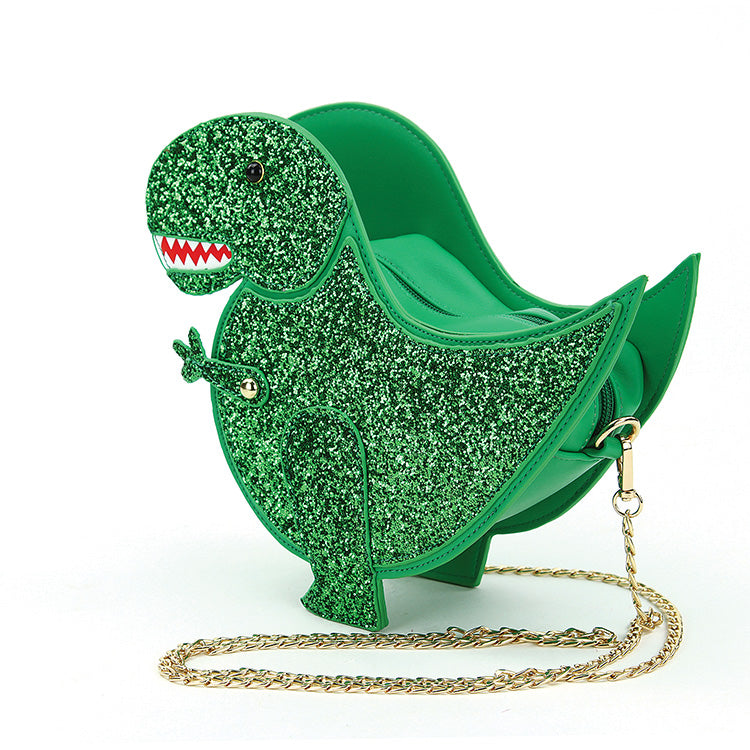 Green Glittery Dinosaur Crossbody Purse