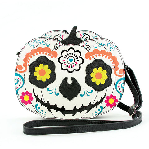 Sugar Skull Pumpkin Cross-Body Bag