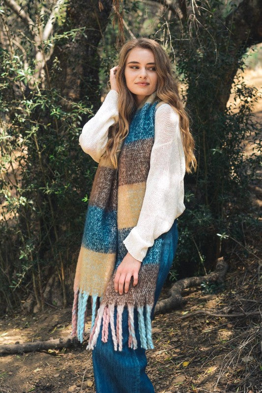 Brown Oversized Colorblock Tassel Trimmed Scarf