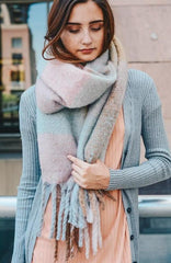 Light Blue Oversized Colorblock Tassel Trimmed Scarf