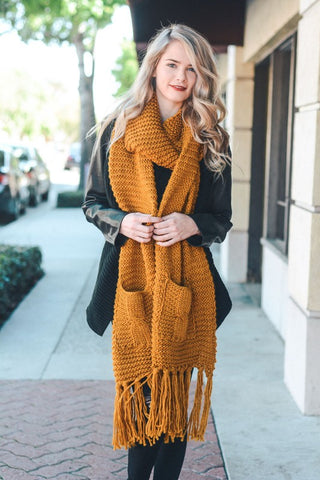 Mustard Chunky Tassel Scarf with Pockets