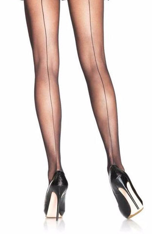 Sheer Black Tights with Backseam