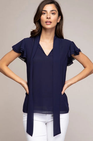 Navy Ruffle Sleeve Tie-Neck Top