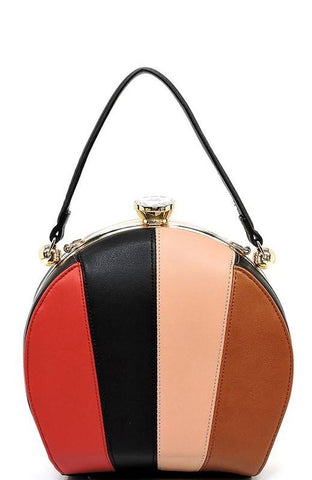 Multi Striped Colorblock Satchel Handbag in Black
