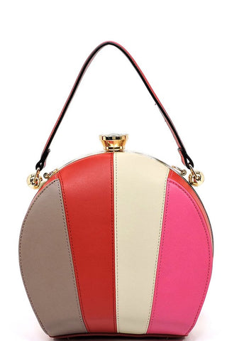 Multi Striped Colorblock Satchel Handbag in Red