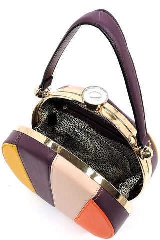Multi Striped Colorblock Satchel Handbag in Violet