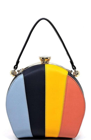 Multi Striped Colorblock Satchel Handbag in Navy