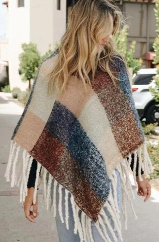 Peach and Blue Colorblock Poncho