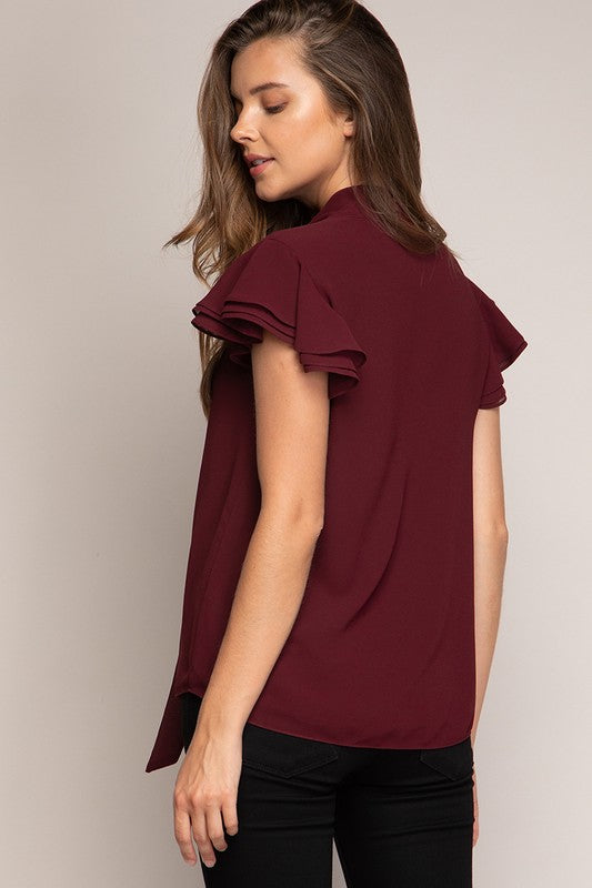 Burgundy Ruffle Sleeve Tie-Neck Top
