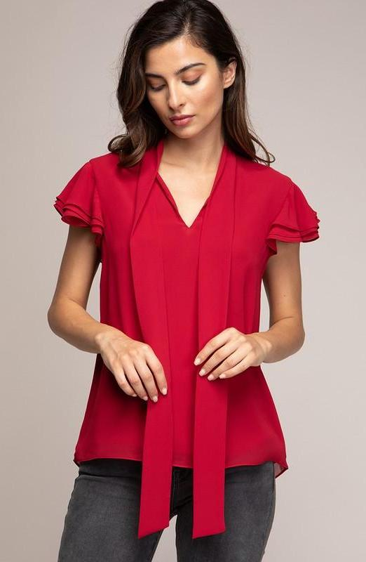 Red Ruffle Sleeve Tie-Neck Top