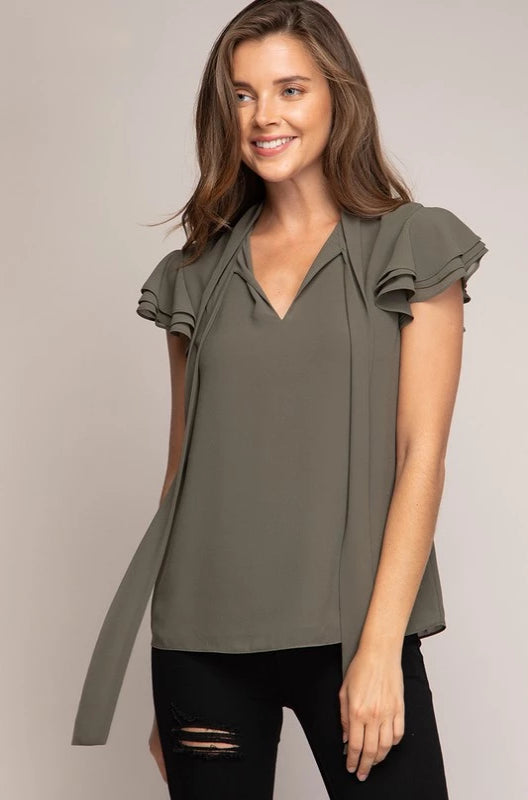 Olive Ruffle Sleeve Tie-Neck Top