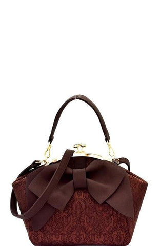 Bow Accent Kiss Lock Satchel in Wine